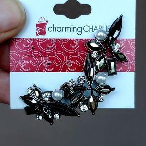 New Charming Charlie Gun Metal Rhinestone Ear Cuff